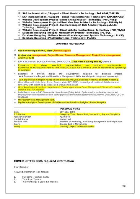 Kronos Implementation Resume by Vishvas Resume Business Analyst 7 Year Exp