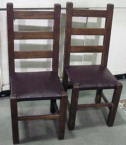 mission oak chairs pair leather seats for sale antiques