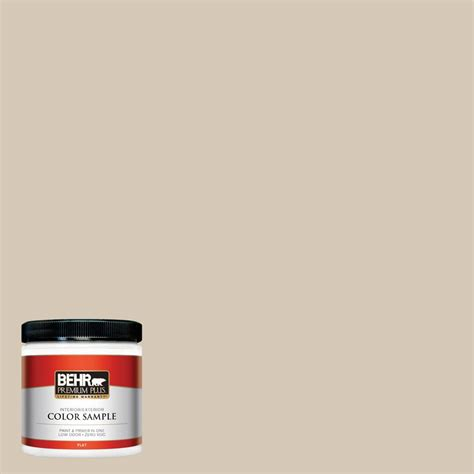 behr premium plus 8 oz mq3 10 beige flat interior exterior paint and primer in one
