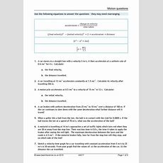 Velocity And Acceleration Calculation Worksheet Answer Key  Briefencounters Worksheet Template