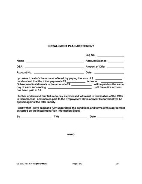 installment payment agreement template installment plan agreement free