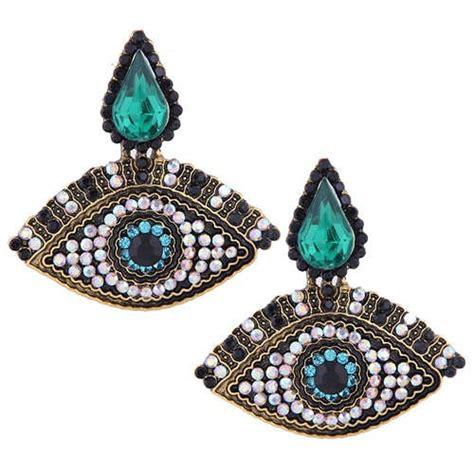 rhinestone emebellished evil eye design high fashion women costume earrings