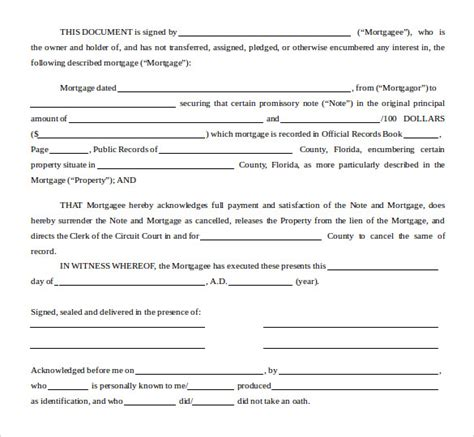 satisfaction  mortgage form    sample