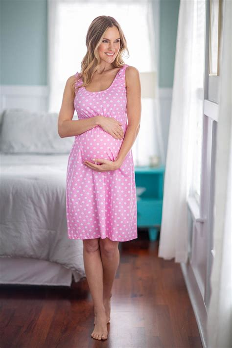 pink dotted    maternity nursing nightgown nightdress hospital bag baby