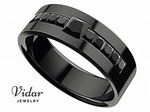 men39s princess black diamond black gold wedding ring With black gold mens wedding rings
