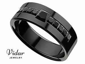 men39s princess black diamond black gold wedding ring With black gold wedding rings for men