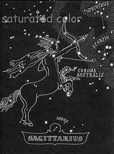Sagittarius Star Chart Map Zodiac Constellation by ...