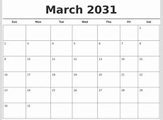 April 2031 Blank Monthly Calendar