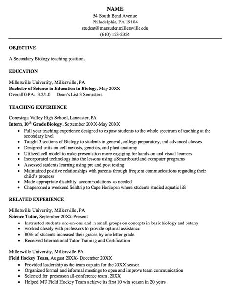 biology resume sle resumes design