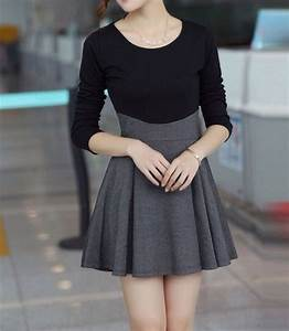 Dress cute dress black grey black dress skater elegant dress tumblr - Wheretoget