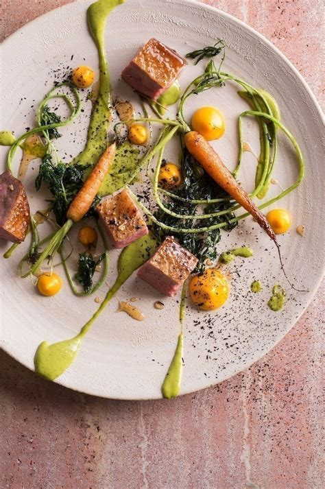 emulsion cuisine hay smoked duck carrot puree and herb emulsion