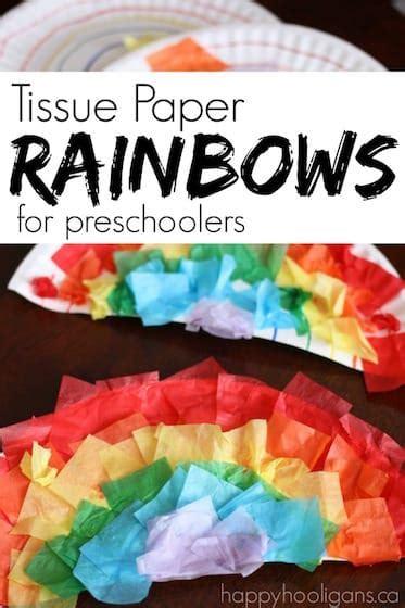 tissue paper paper plate rainbow craft happy hooligans