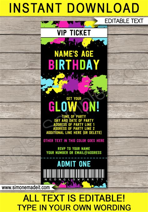 pinterest invite templates  glow party google search