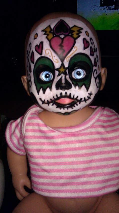 ooak day   dead makeup handpainted sugar skull baby