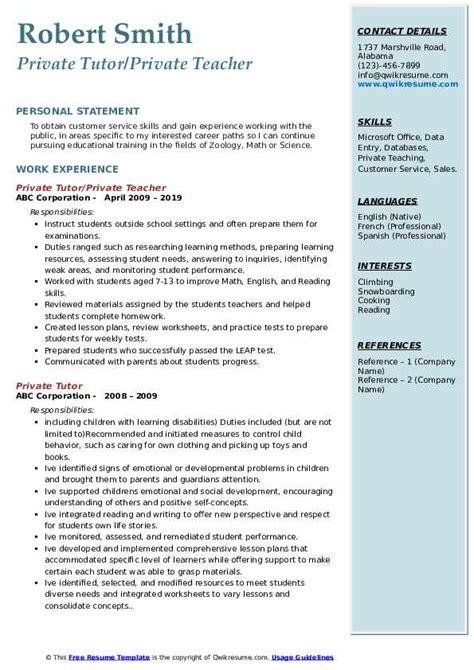 private tutor resume samples qwikresume