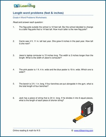 grade 4 length word problem worksheets k5 learning