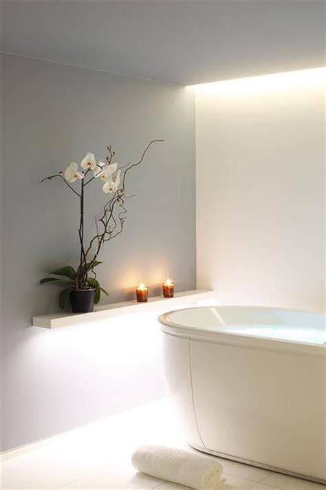 White Spa Bathroom by Floating Led Bath Spa Lights Grey Walls Zen And Spa