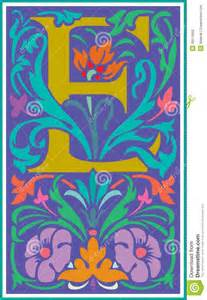 Decorative Letter E with Flower