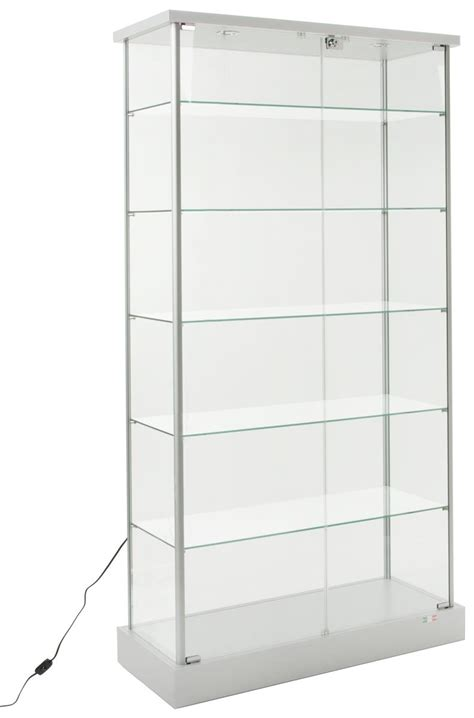 glass cabinet with lights glass display cabinet 4 hidden casters 2 led lights