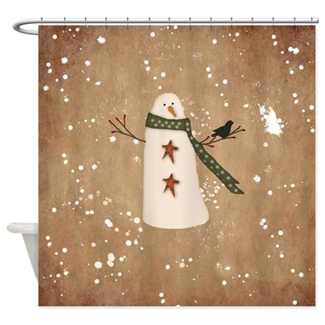 Primitive Bathroom Decor Canada by Primitive Snowman Shower Curtain By Mousefx