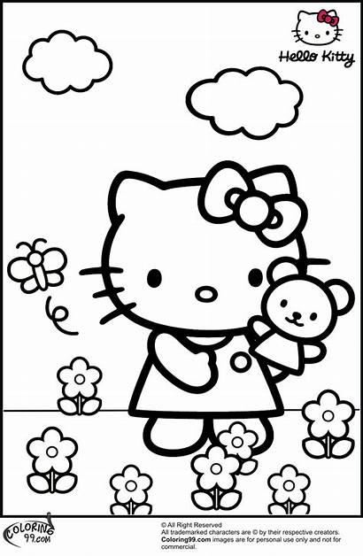 Hello Kitty Coloring Pages Colors Cartoon Garden