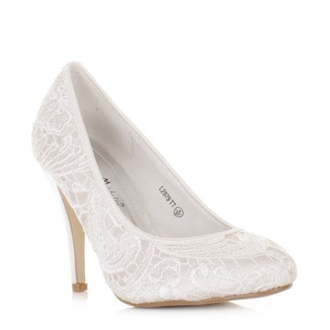 womens ladies lace overlay satin  white pale wedding