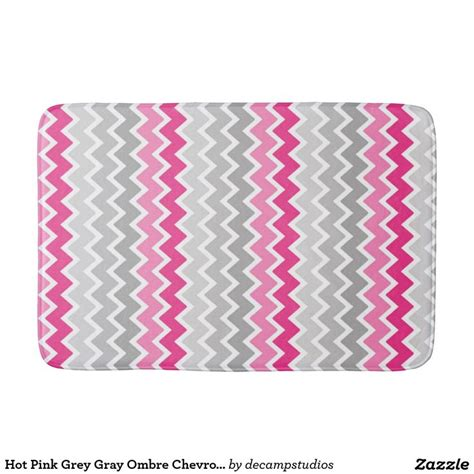hot pink grey gray ombre chevron zigzag pattern bathroom