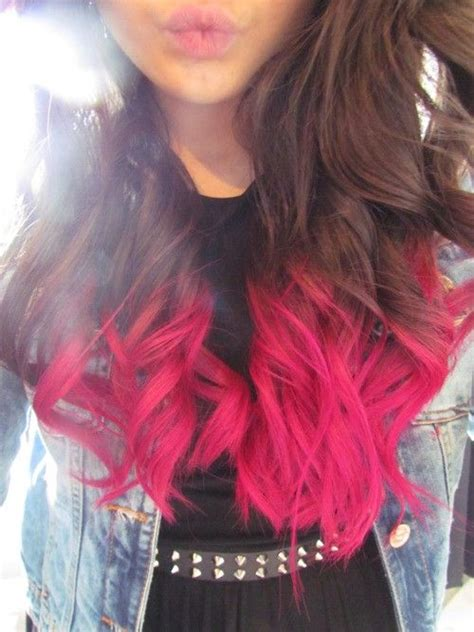 Brown Hair With Hot Pink Dip Dyed Ends Hair Pinterest