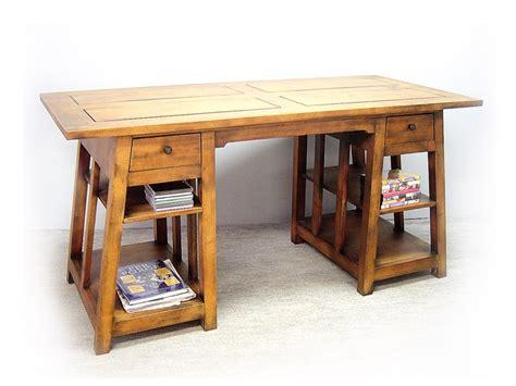 bureau treteau bureau moderne moka façon tréteau 2 tiroirs en