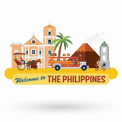 Philippines Vector Illustration Icons Landmarks Welcome Mabuhay