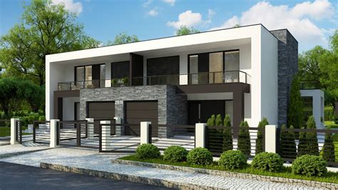 Mājas dizains Zb10 Dvīņu mājas projekts ar garāžu - Zb10