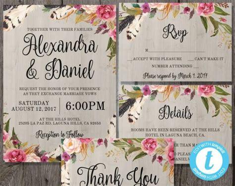 printable boho wedding invitation template set rsvp