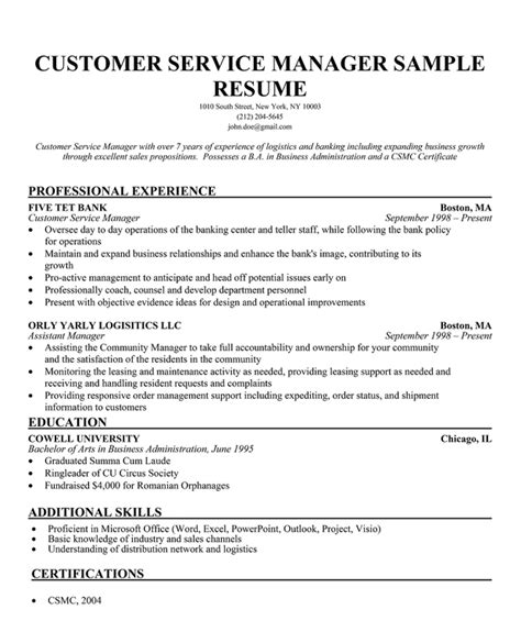Resume Format Customer Service Manager by Great Customer Service Resumes Great Customer Service