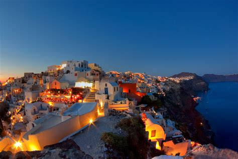 The Wall Sunset Over Santorini Greece