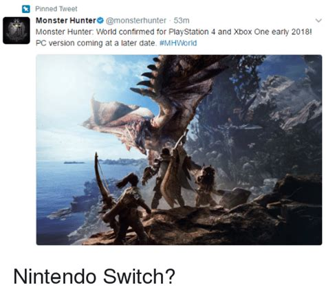 Monster Hunter World Memes - pinned tweet monster hunter monster hunter 53m monster hunter world confirmed for playstation 4
