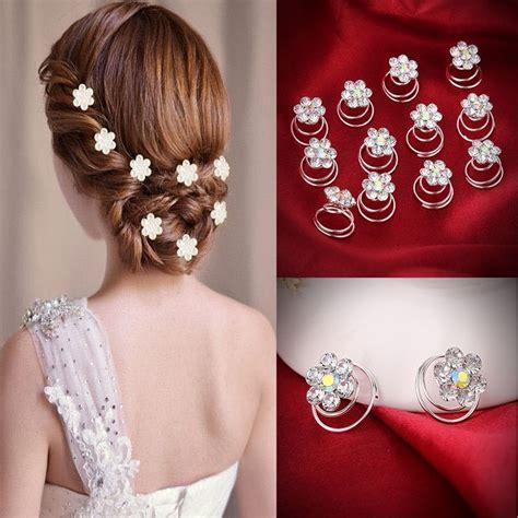 12PC Crystal Rhinestone Flower Bridal Wedding Hair Pins