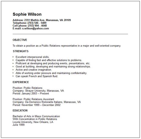 public relations sample resume public relations and human resources resume examples