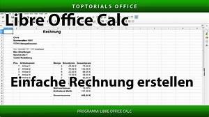 Openoffice Rechnung Erstellen : einfache rechnung erstellen mit und ohne mwst libreoffice calc toptorials ~ Themetempest.com Abrechnung