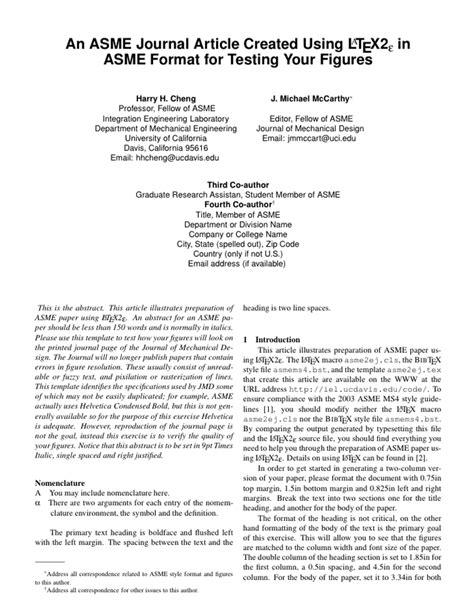 LaTeX Templates » American Society of Mechanical Engineers