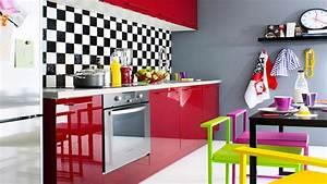 Cuisine En Promo : cuisine fly rouge en promo facade melamine vernis haute ~ Teatrodelosmanantiales.com Idées de Décoration