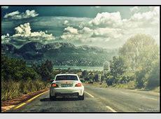 Wallpaper lights, white, mountains, lake, car, BMW