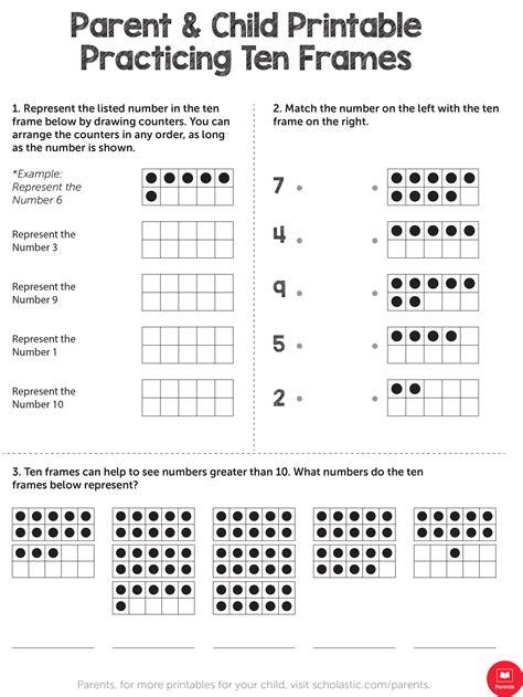 practicing ten frames worksheets printables