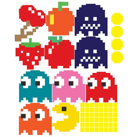 Pac Man Wall Decal - Video Game Wall Decal Murals - Kids