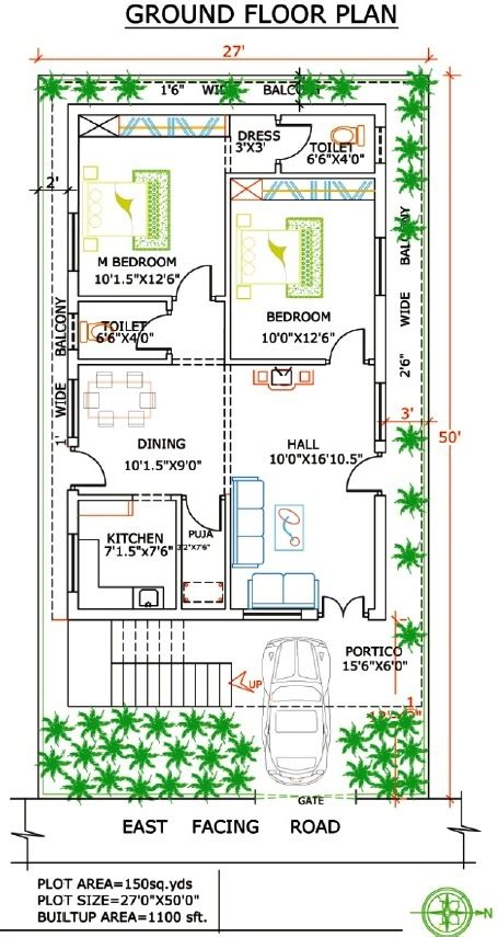 27 Floor House by 1100 Sq Ft House Plans India