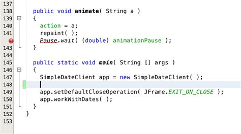 java swing timer pause resume java cannot find symbol symbol class simpledate location class simpledateclient stack