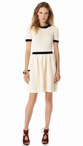 Red Valentino Lace Knit Dress with Bow in (Ivory Multi)   Lyst