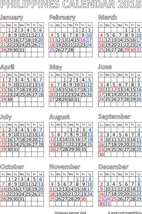 philippines calendar  printable  printable