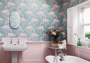 Papier Peint Pour Salle De Bain : j 39 ose le papier peint dans ma salle de bains elle d coration ~ Dailycaller-alerts.com Idées de Décoration