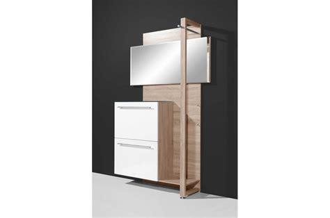chambre a coucher bois meuble d 39 entrée 2 portes laquées avec miroir blanc et