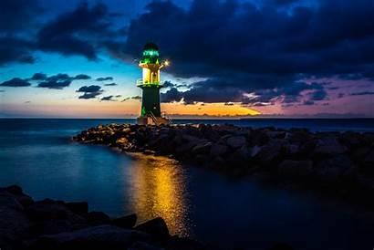 Lighthouse Night Ocean Wallpapers Sky Cloud Faro